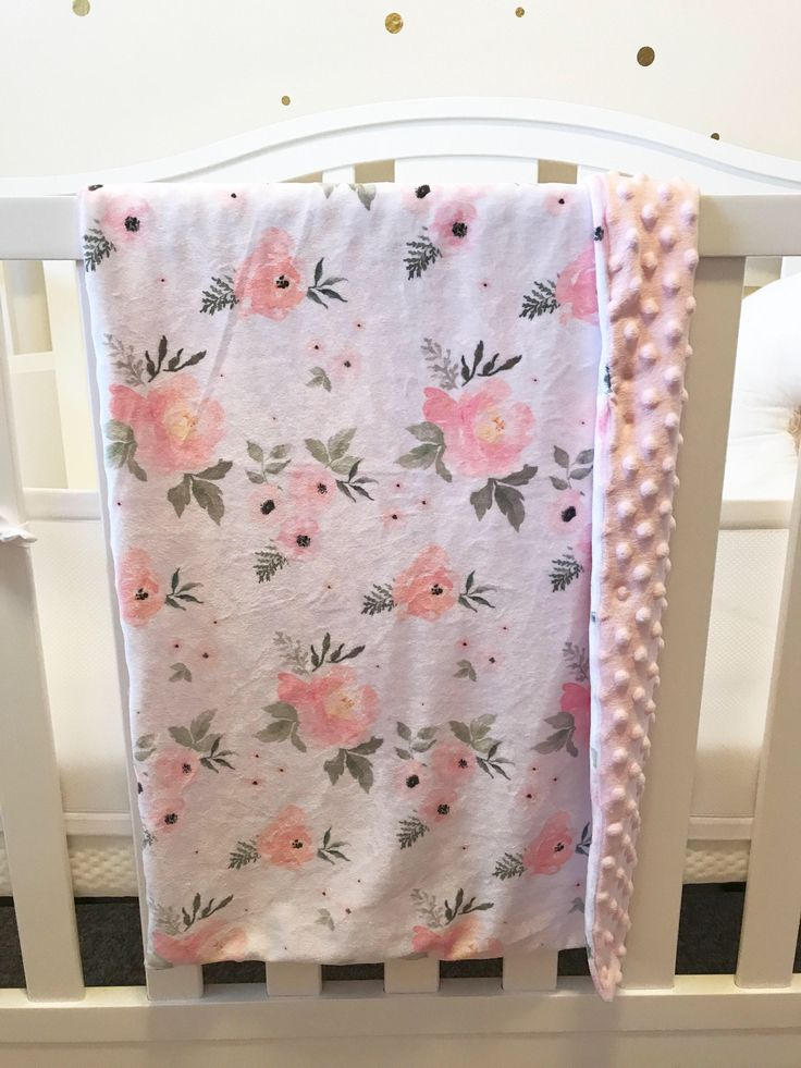 A personal favorite from my Etsy shop https://www.etsy.com/listing/572966865/floral-baby-blanket-pink-baby-blanket