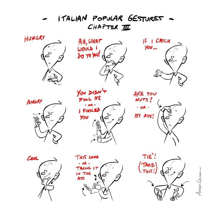 Italian hand gestures should be used with extreme caution by non-Italians. There are subtleties here that could get a novice in a whole lot of trouble. (Part 3 of 3)