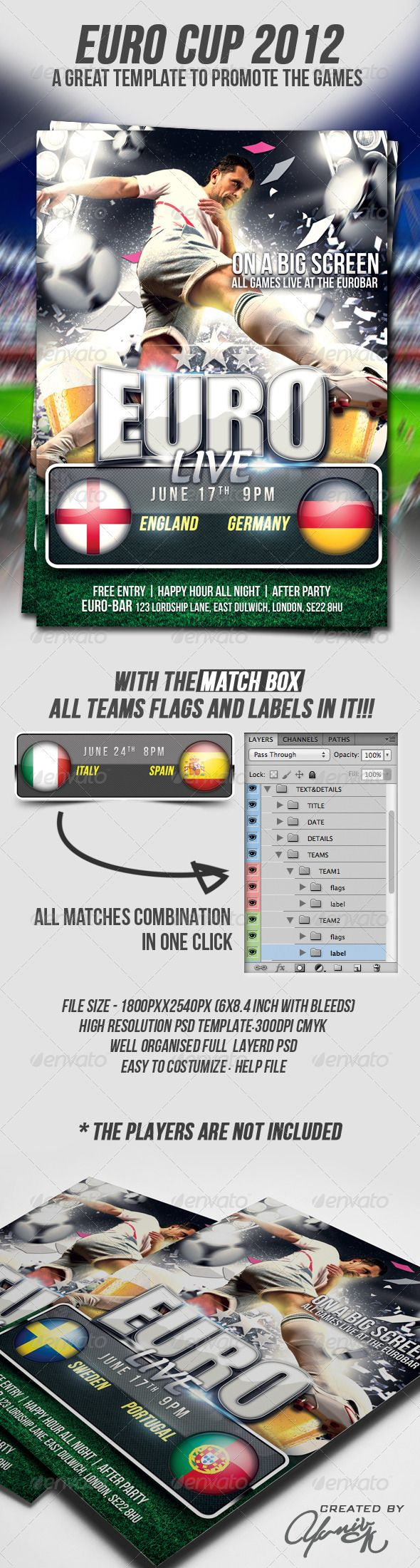 Euro Cup Flyer Template  #GraphicRiver         Euro Cup 2012 Flyer Template Euro 2012 is here!!! this great template designed to promote all bars/places that bring it on with big screen, live  FEATURS:  The PSD file dimensions are: 1800×2540 (6×8.4 inches with bleeds)  300dpi resolution Color mode: CMYK Print ready.