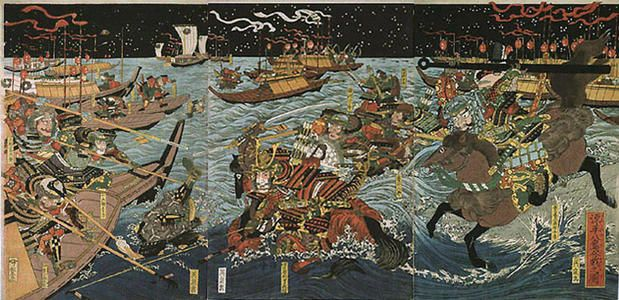 This is The Battle at Yashima between the Minamoto clan and the Taira clan. It was Yoshitsune's plan to enact a surprise attack that included a strategy similar to a blitzkrieg of combining archery off the boat and horses rushing on the shore to charge into Taira stronghold from the rear. Yoshitsune's strategic attack allowed for him to remain on the offensive and eventually seize the stronghold and capture Taira's clan head, Munemori. P. Tran