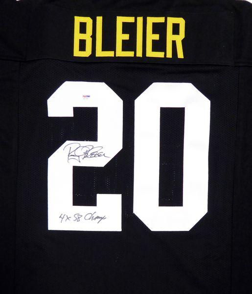 "Pittsburgh Steelers Rocky Bleier Autographed Black Jersey """"4X SB Champ"""" PSA/DNA"