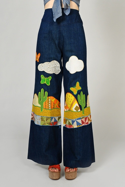 1970s Calico Patchwork Bell Bottom Jeans Vintage Fashion