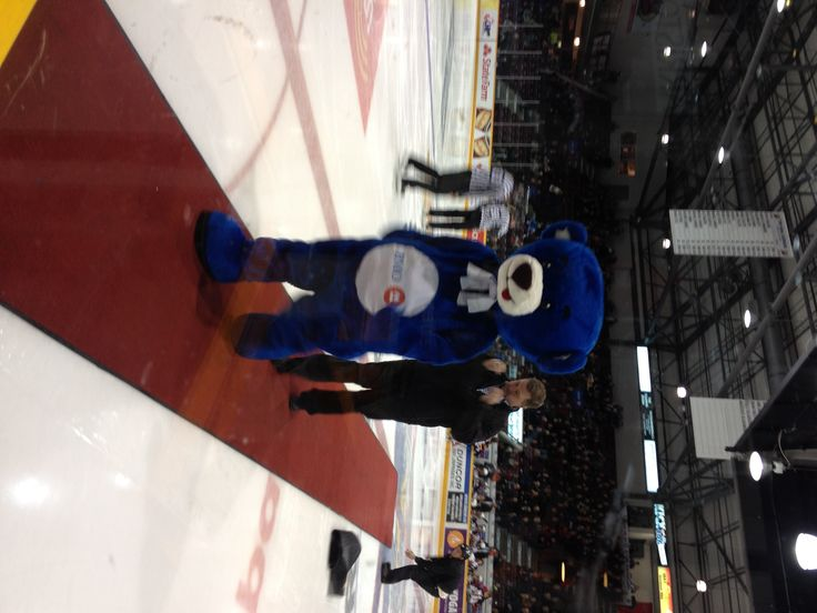 Loonie Times Custom Mascots- BMO Bear signing a very quite version of the National Anthem at the Barrie Colts Game!
