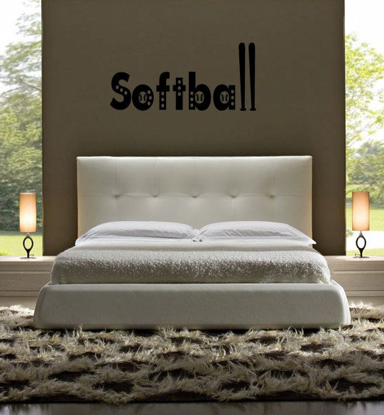 softball bat ball children 39 s girls sticky sports bedroom vinyl wall l