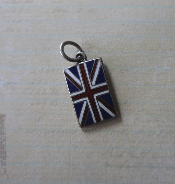 Vintage Enamel Great Britain British Flag Charm Sterling