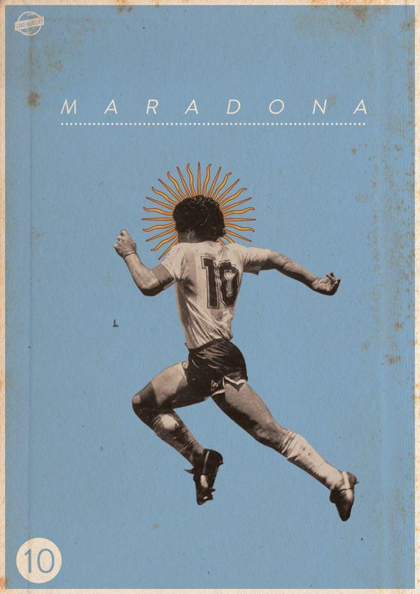Maradona. Football Legends Posters by Luke Barclay, via Behance