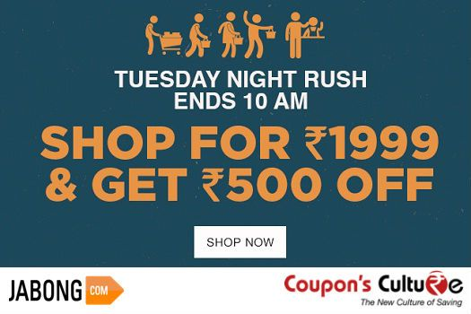 #‎Jabong‬ ‪#‎Coupons‬ Get Flat Rs. 500 Off on minimum purchase of Rs. 1999 or above. ‪#‎Shop‬ Now