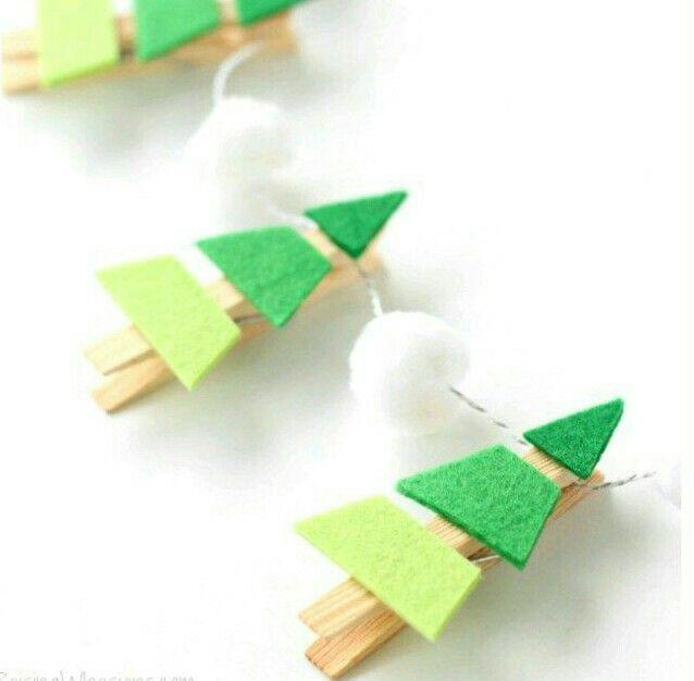DIY clothespin Christmas tree garland