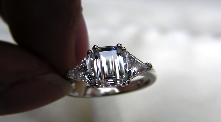 cool wedding rings for newlyweds emerald cut moissanite