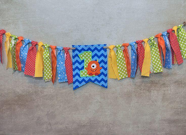 Shabby Rag Flag Fabric High Chair Banner   Little Monster   Blue, Lime Green ,