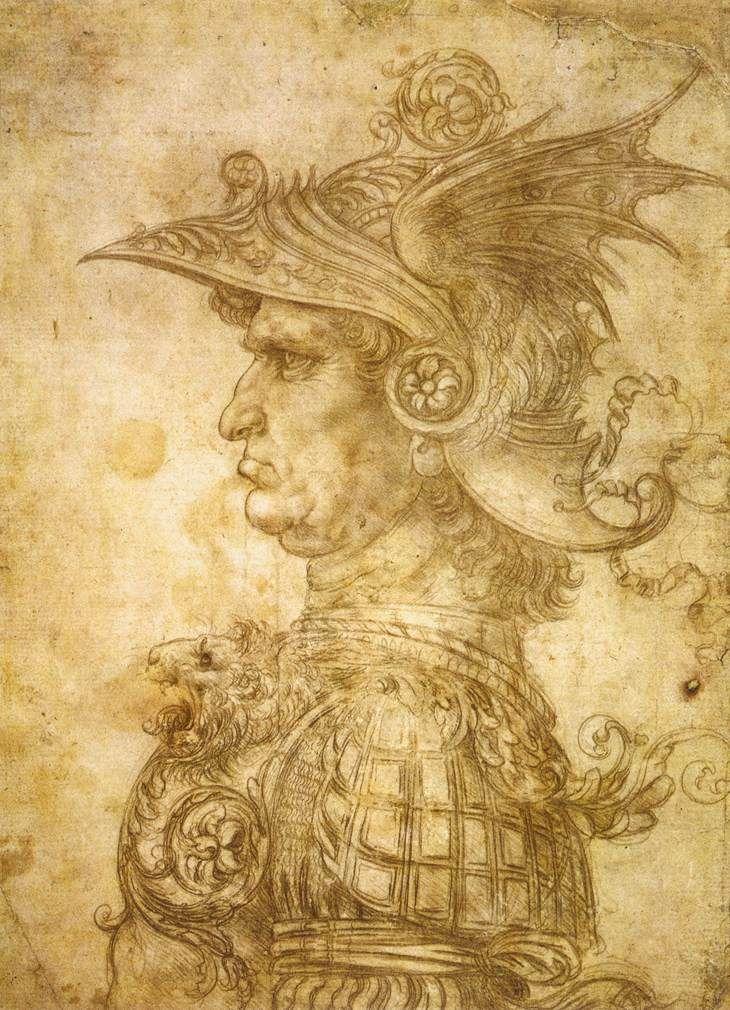 Guerrier avec un casque (1472, British Museum, Londres) de Léonard de Vinci