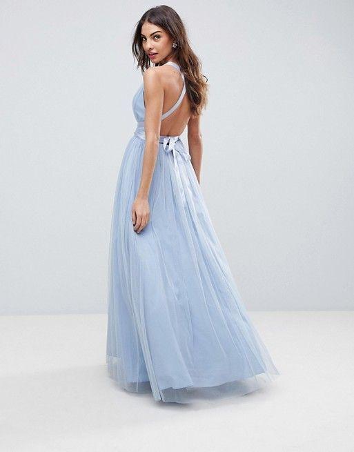 eaf8fc218c9 ASOS PREMIUM Tulle Maxi Prom Dress With Ribbon Ties £65.00 COLOUR  Dusky  blue