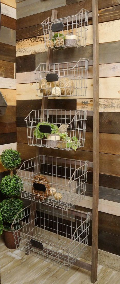 Rustic Metal + Wood Basket Rack // Can be used in any room of the house! From Fruit to Soaps, Plants to Towels or Crafts to Purses