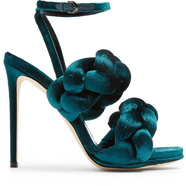 Marco De Vincenzo Plaited velvet sandals ($595) ❤ liked on Polyvore featuring shoes, sandals, heels, green velvet shoes, stiletto sandals, velvet sandals, woven sandals and green heeled sandals