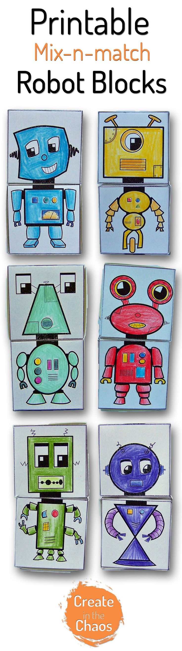 Printable mix-n-match robot blocks www.createinthechaos.com