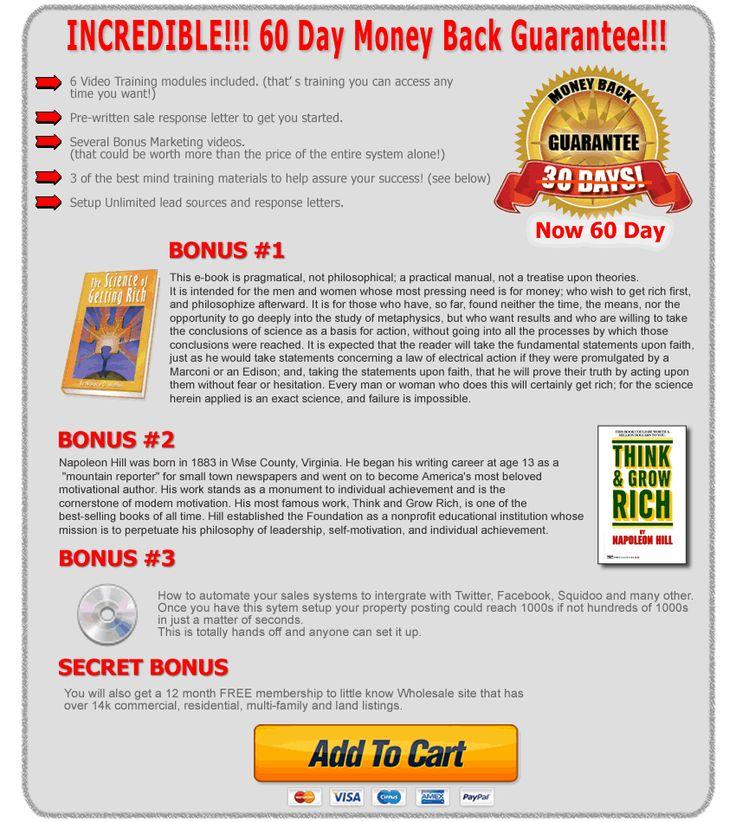60-guarantee money back guarentee ultimate real estate lead system
