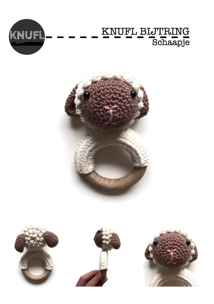 Crochet pattern teething ring/ rattle sheep by KNUFL on Etsy https://www.etsy.com/listing/248800286/crochet-pattern-teething-ring-rattle
