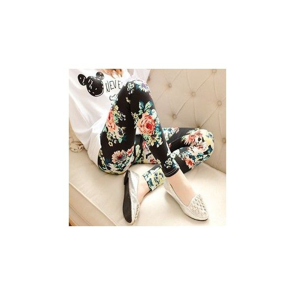 Floral Print Leggings (22 AUD) ❤ liked on Polyvore featuring pants, leggings, women, floral trousers, floral printed pants, gray pants, grey leggings and grey trousers