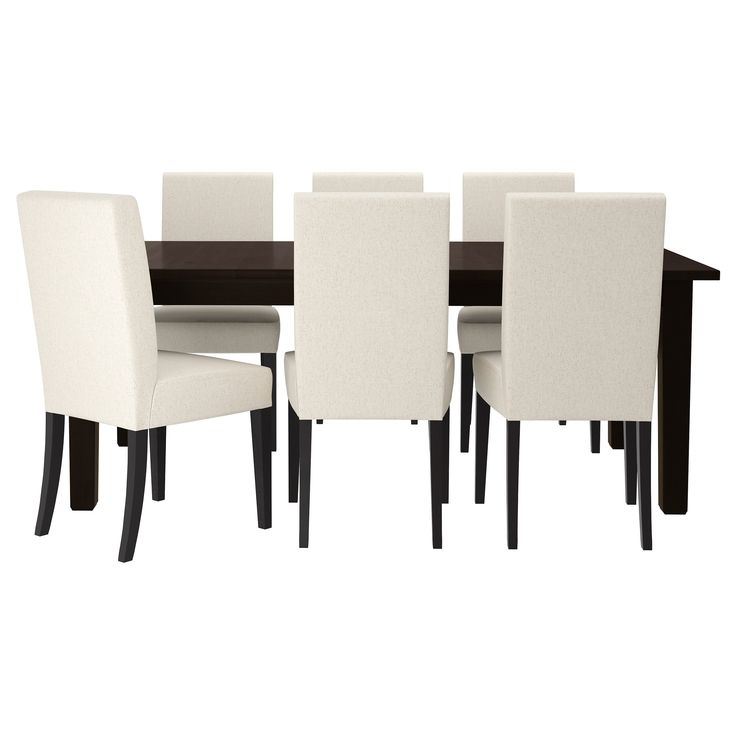 STORNÄS/HENRIKSDAL Table and 6 chairs - Linneryd natural, brown-black - IKEA