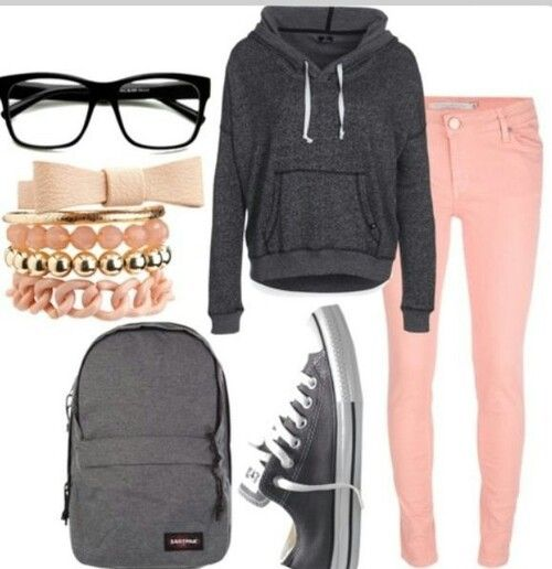 This gorgeous hipster look is perfect for school. #hipster #beauty #pink #grey