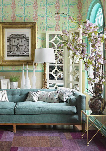 Pretty: Livingrooms, Living Rooms, Color Schemes, Decoration, Interiors Design, Purple Rooms, Color Combinations, Turquoi, House