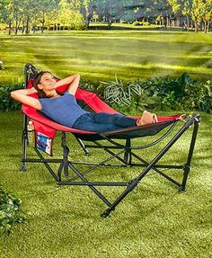 This Portable Hammock is perfect for relaxing in your backyard, on a camping trip or even indoors. It's perfect for relaxing in your backyard, or you can take it with you on your next camping trip. Can also be used indoors. It has 2 pockets to keep your