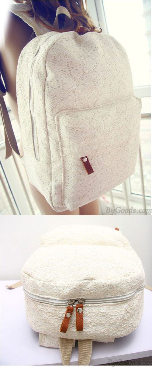 Cheap but nice lace school backpack! pure white. #Fashion #Sweet #Floral #Lace #Backpack #white #bag #lace
