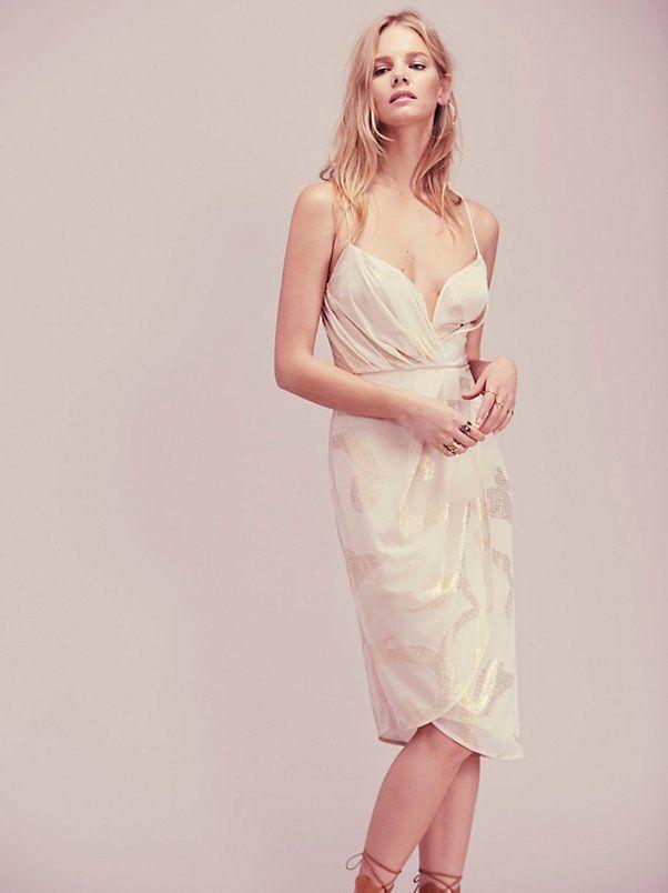 Free People - Gold and cream Venus Draped Midi Dress