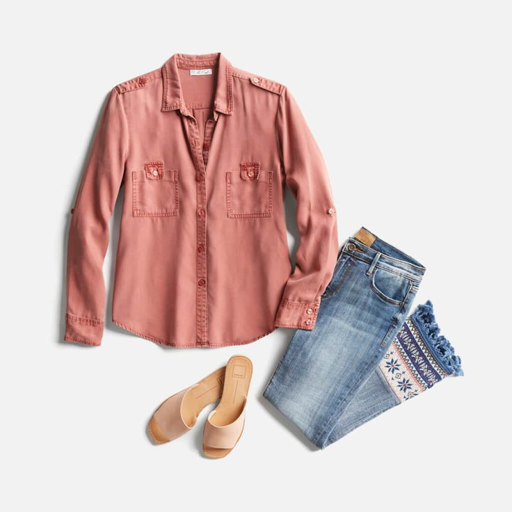 I love this blouse style; I wonder if I can wear this color? (the jeans are super cute, toooooo)