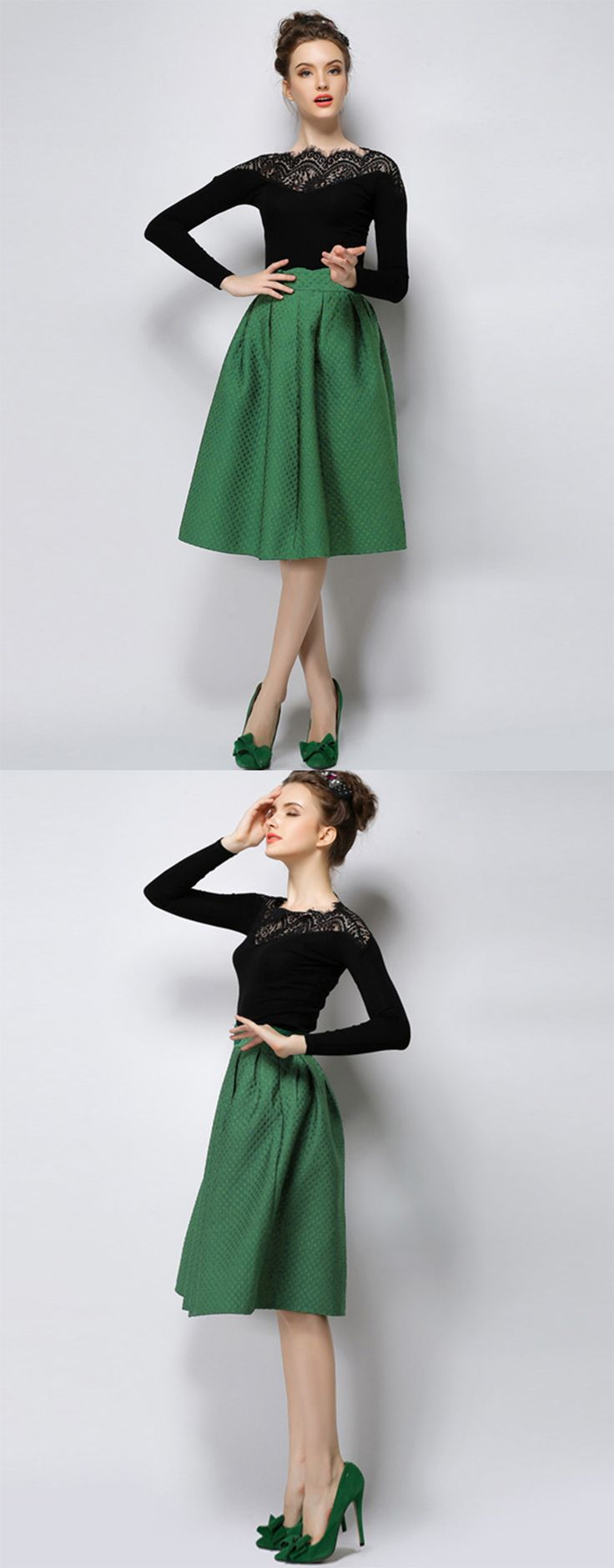 Christmas dress casual - Green High Waist Plaid Skirt Christmas Outfitschristmas