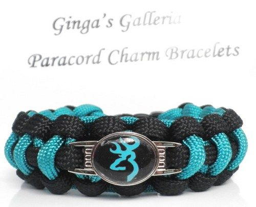 Black and Turquoise BROWNING BUCK Cobra 550 Paracord Survival Charm | gingasgalleria - Jewelry on ArtFire