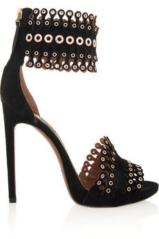 AlaA?a Embellished suede sandals | NET-A-PORTER | See more about Suede Sandals, Sandals and Black Suede.