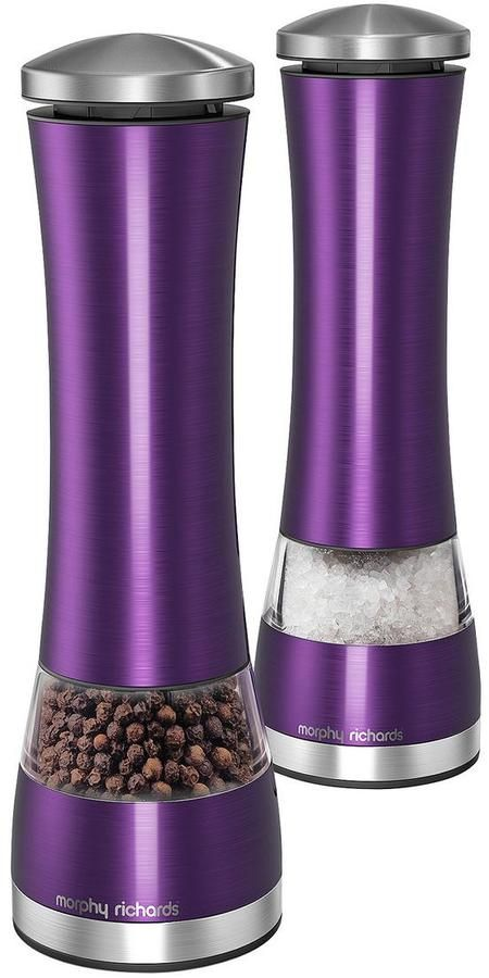 Morphy Richards Electronic Salt and Pepper Mill Set - Purple on shopstyle.co.uk
