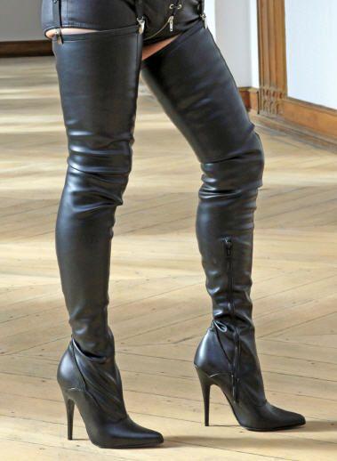 High-Heels Crotch-Stiefel, extralang, Stretchkunstleder, schwarz,