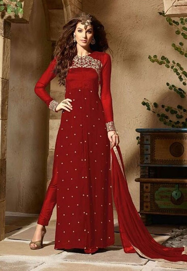 """""""#Fashion does not have to prove that it is serious. It is the proof that intelligent frivolity can be something creative and positive"""" Shop Red Color Georgette #Designer #Anarkali #Salwar #Kameez"""