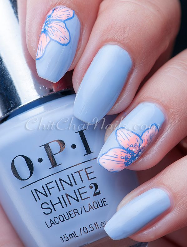 UberChic Beauty  Review | ChitChatNails  Hello spring! What beautiful nails! Great details from Uber Chic Beauty Stamps! Perfect manicure for spring and summer with awesome flowers from collection! Love nail art! Perfect for prom nails too!