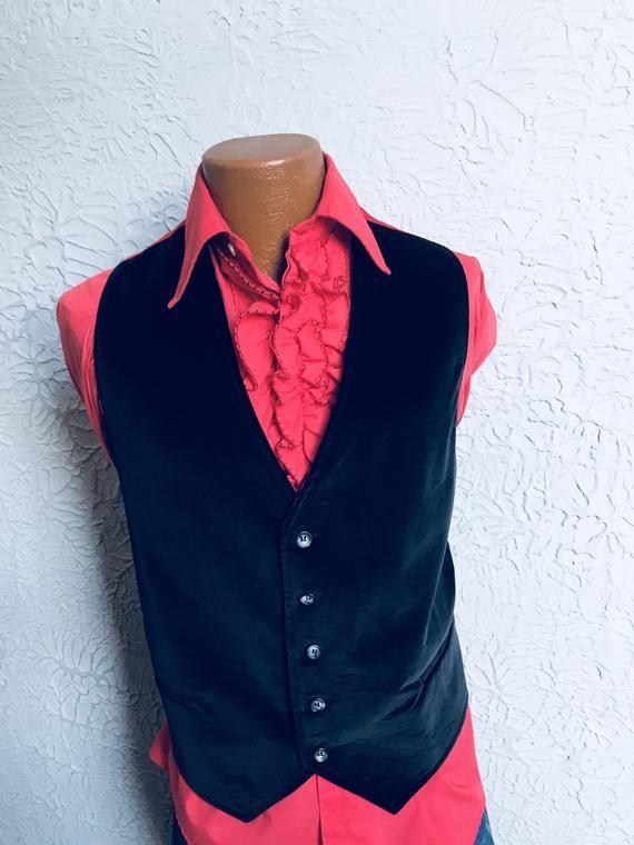 f0926da1c2 Vintage Men s Black Velvet Vest Waistcoat Sm  Medium