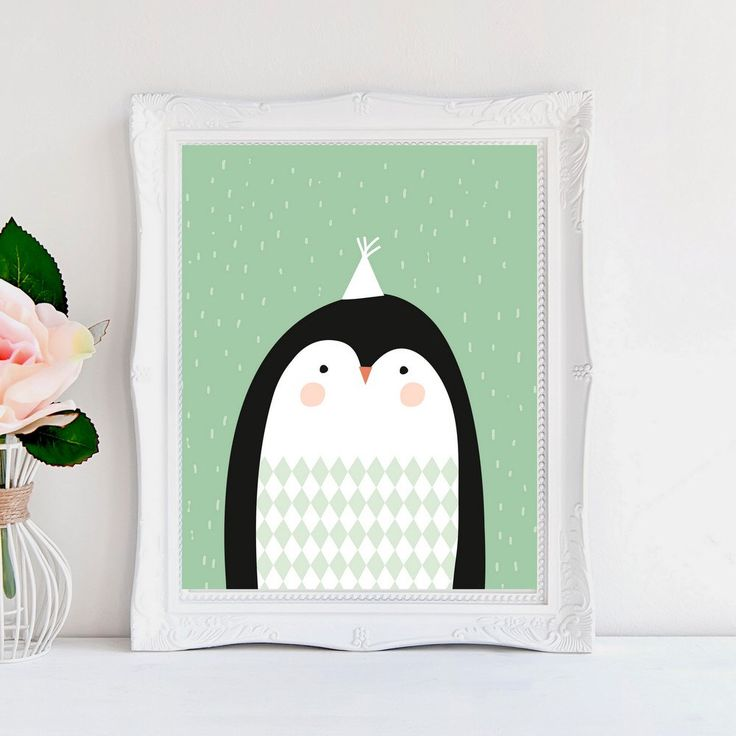 A personal favorite from my Etsy shop https://www.etsy.com/listing/287578105/nursery-wall-art-penguin-illustration