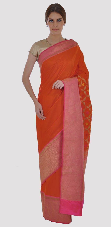 Orange And Hot Pink Banarasi Zari Hand Woven Pure Silk Saree