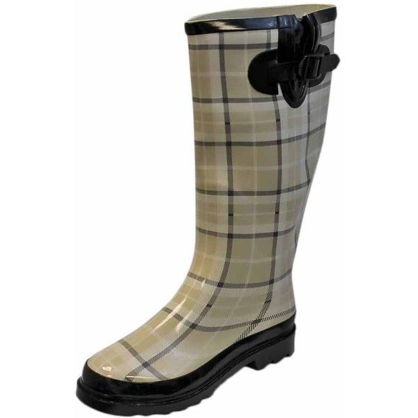 Beige & White Print Plaid Ladies Rain Boots ($40) ❤ liked on Polyvore featuring shoes, boots, beige, white boots, plaid rain boots, white shoes, rubber boots and round toe boots