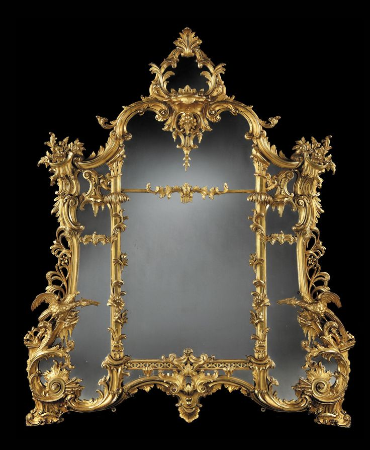 Rococo giltwood mirror carved frame incorporating birds for Mirror 90 x 90