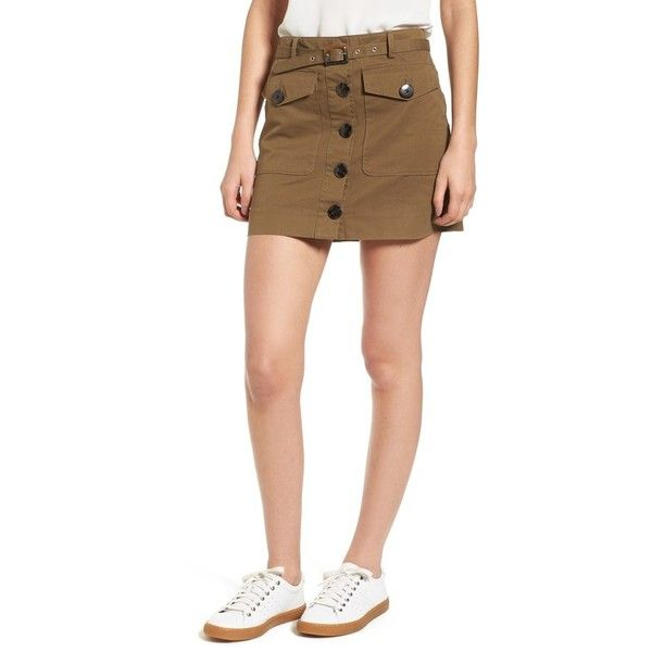 Women's Rebecca Minkoff Levy Skirt (175 NZD) ❤ liked on Polyvore featuring skirts, military olive, military skirts, army green skirt, cotton knee length skirt, olive skirt and rebecca minkoff