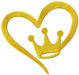 Gold king heart free embroidery design