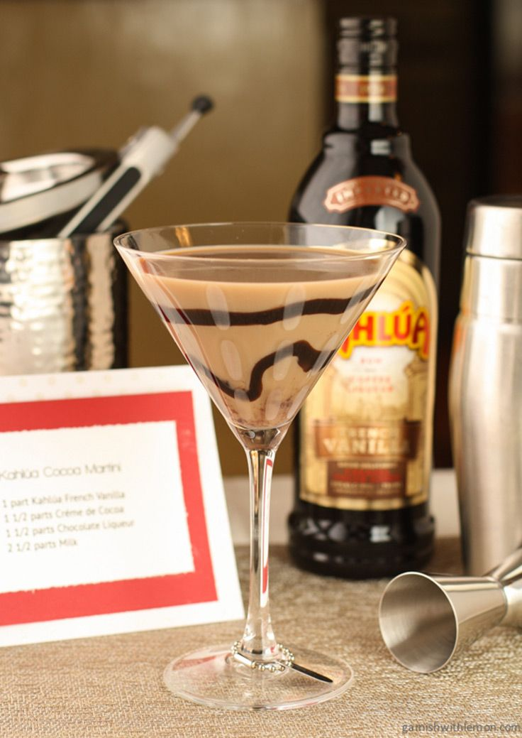 Kahlua and cocoa make the perfect party martini. Ingredients: 1 part Kahlua French Vanilla 1 1/2 parts creme de cocoa 1 1/2 parts chocolate liqueur 2 1/2 parts milk Chocolate Syrup (For swirling in glass)