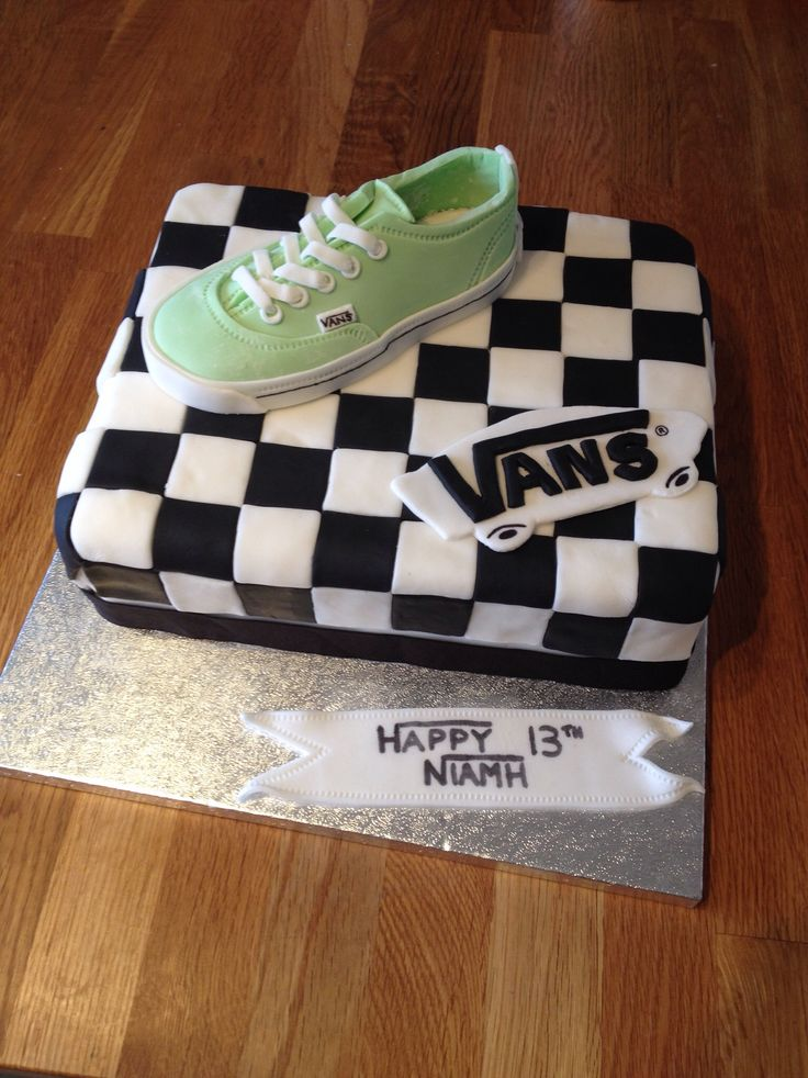 Vans Shoes Checkerboard Birthday Cake Cakes Pinterest