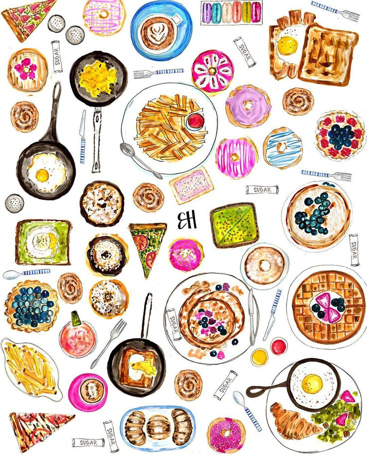 Evelyn Henson: I SPY...one cocktail, eight sugar packets, five cinnamon rolls, two plates of fries, one pop tart, & two lattes! Happy Sunday brunching