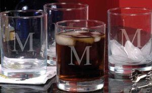 """Monogram Double Old Fashioned Glasses Set Of 4, 14OZ, A by Home Decorators Collection. $32.00. 4.25""""H x 3""""D.. These tumblers will enhance the look of your barware and impress your guests with their classy, sophisticated style. Perfect for everything from mixed drinks, your favorite drink on ice and even soft drinks, you can also add a personalized touch with a single script initial delicately engraved into the glass of each. Complete your barware today; order yours now. Han..."""