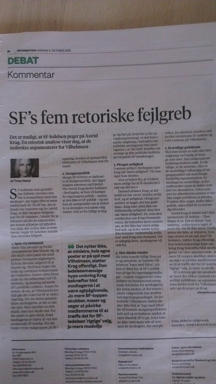 "My article in the newspaper ""Information"" about the political party, SF, and the management's five rhetorical blunders in the chairwomancampaign this fall 2012"