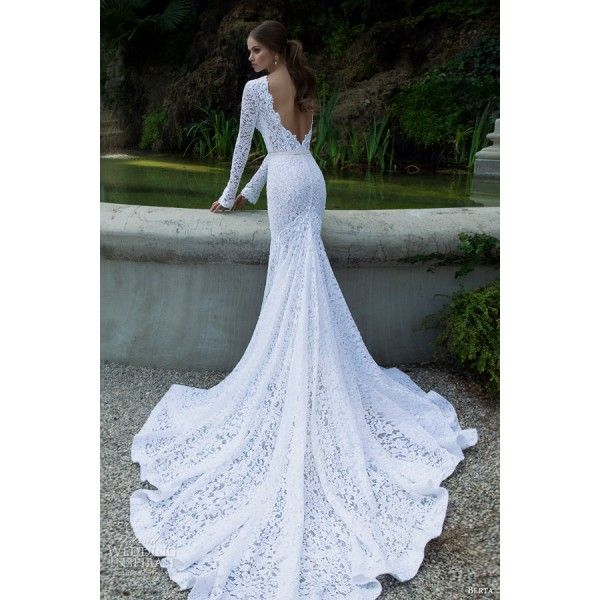 White Long Sleeves Lace Wedding Dress With Deep V Back