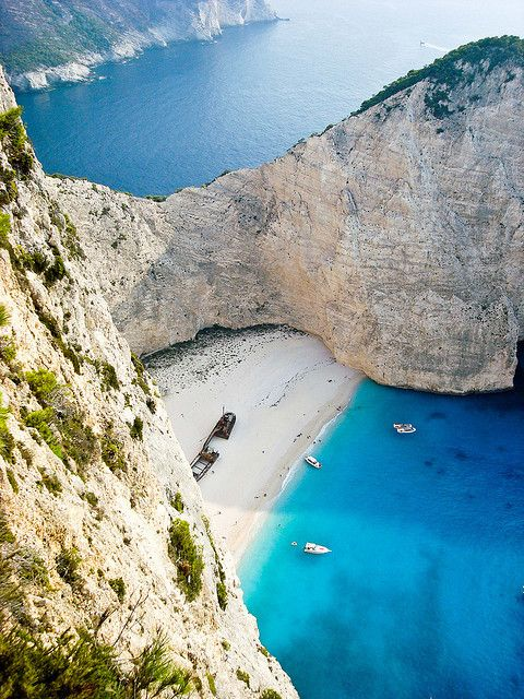 One of the most famous beaches in Greece, Navagio Beach in Zakynthos, by Geroooo, via Flickr